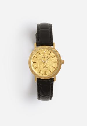 Limit Watches Round Gold Watch Gold Case & Black Strap