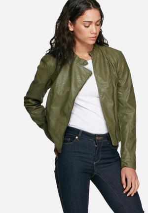 Vero Moda Miley PU Jacket Green