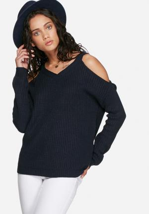 Vero Moda Sibbo V-neck Cold Shoulder Knit Knitwear Navy