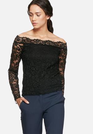 Vero Moda Coco Lace Off Shoulder Top Blouses Black