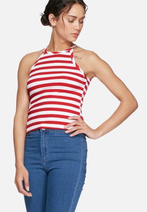 Glamorous Stripe High Neck Top T-Shirts, Vests & Camis Red & White