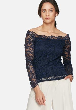 Vero Moda Coco Lace Off Shoulder Top Blouses Navy