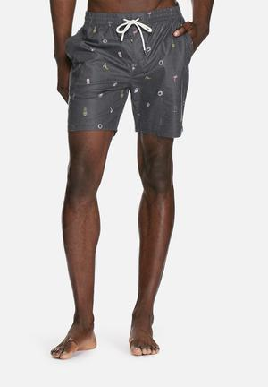 Globe Pinned Pool Shorts Swimwear Grey
