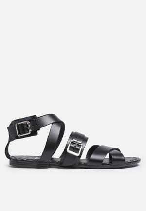Pieces Jamie Leather Sandal Black