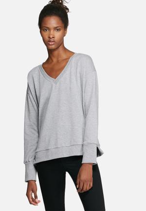 Dailyfriday V-neck Boxy Sweat Hoodies & Jackets Grey