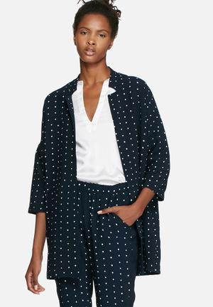 VILA Dotthea Kimono Jackets Navy & White