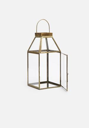 Sixth Floor Brass & Glass Lantern Accessories Brass & Glass
