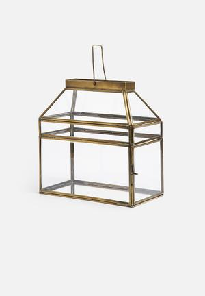 Sixth Floor Rectangular Lantern Accessories Brass & Glass / Mirror Glass