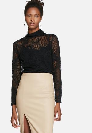 VILA Loras Lace Top Blouses Black