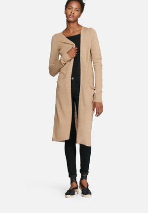 VILA Riva Long Cardigan Knitwear Beige