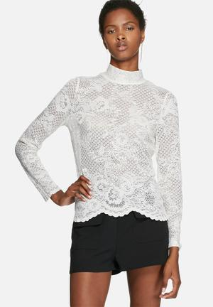 VILA Loras Lace Top Blouses White