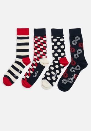 Happy Socks Eternity Gift Box Socks Navy, Cream & Red