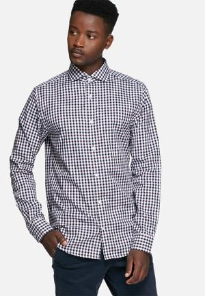 Jack & Jones Premium Oscar Slim Shirt White, Navy & Burgundy