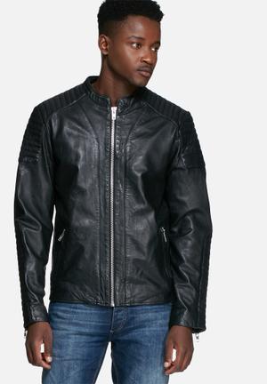 Jack & Jones Premium Rowen Leather Jacket Black