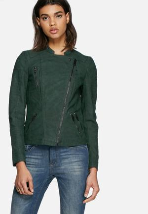 ONLY Ava PU Biker Jacket Green