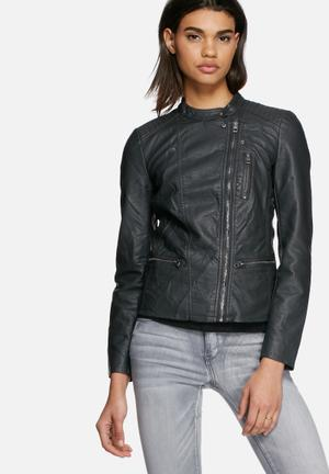 ONLY Freya Faux Leather Biker Jacket Charcoal