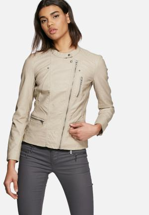 ONLY Freya Faux Leather Biker Jacket Taupe