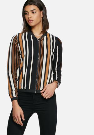 ONLY Nova Lux Stripe Bomber Jackets Black, Brown & White
