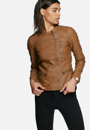 ONLY Freya Faux Leather Biker Jacket  Tan