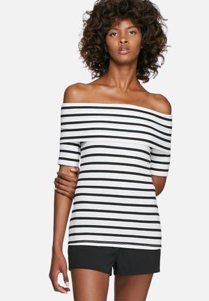 Dailyfriday Rib Off-shoulder Short Sleeve Striped Top T-Shirts, Vests & Camis Black & White