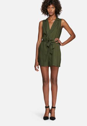 Dailyfriday Wrap Playsuit With Tie Khaki