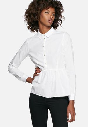 Jacqueline De Yong Wall Peplum Shirt White