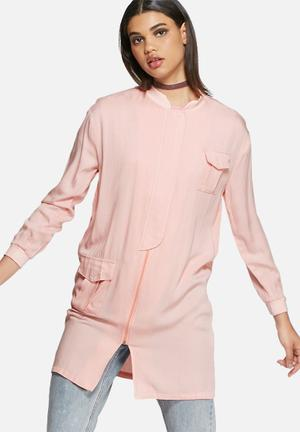 Daisy Street Long Jacket Pink