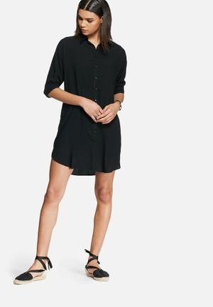 Dailyfriday Oversize Shirt Dress Casual Black