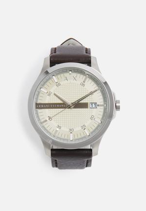 Armani Exchange Dress Watch Cream & Silver With Dark Brown Strap