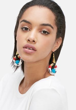 Pichulik Wanderlust Earrings Jewellery White, Black, Red, Gold & Blue