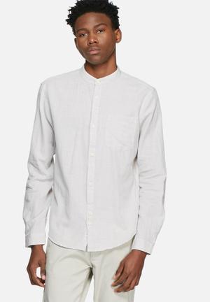 Bellfield Slub Mandarin Shirt Grey