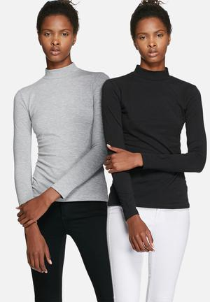 Dailyfriday Polo Neck - 2 Pack T-Shirts, Vests & Camis Grey & Black