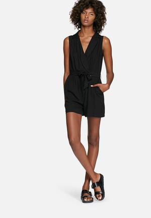 Dailyfriday Wrap Playsuit With Tie Black
