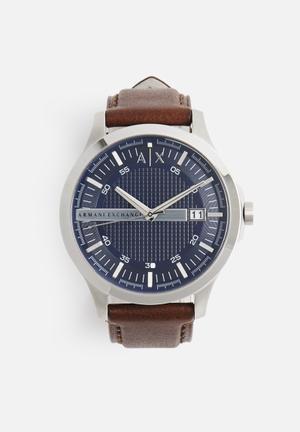 Armani Exchange Hampton Watches Blue With Brown Strap