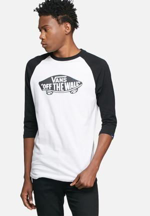 Vans Off The Wall Raglan T-Shirts & Vests Black & White