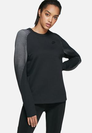 Nike Tech Fleece Crew Mix Hoodies & Jackets Black & White