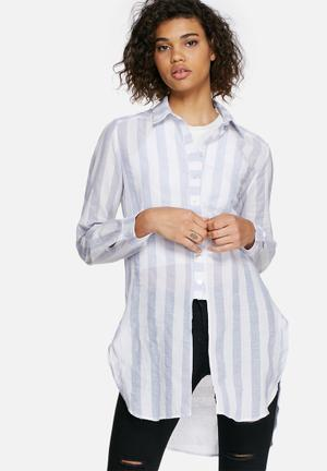 Dailyfriday Longline Striped Shirt White & Blue