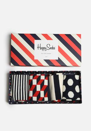 Happy Socks Stripe Gift Box Socks Red, Navy & Cream