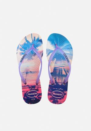 Havaianas Slim Paisage Sandals & Flip Flops Purple & White