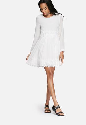 Glamorous Lace Trim Dress Casual White