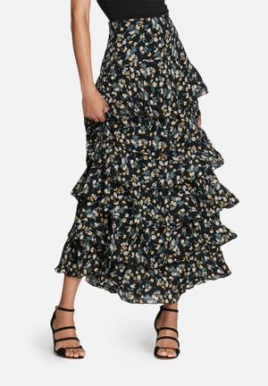 Glamorous Vintage Ruffled Skirt Black, Green & Yellow