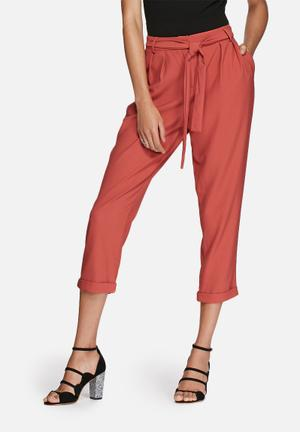Glamorous Tie Front Trouser Red
