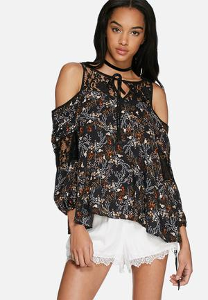 Glamorous Floral Cold Shoulder Blouse Black, Yellow, White & Orange