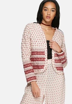 Glamorous Ditsy Border Print Jacket Cream & Red