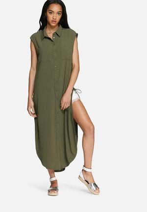 Glamorous Sleeveless Shirt Dress Casual Khaki