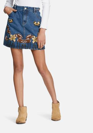 Glamorous Denim Embroidered Pencil Skirt  Blue