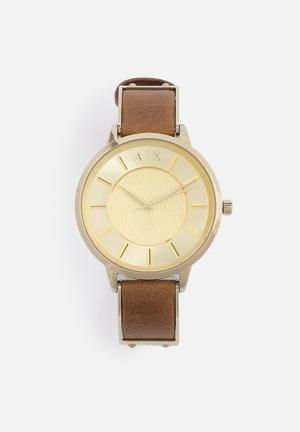 Armani Exchange Dress Watch Gold With Brown Band