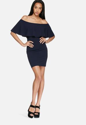 Dailyfriday Off Shoulder Bodycon Dress Occasion Navy