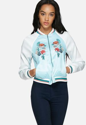 Glamorous Satin Embroidered Bomber Jackets Blue & White
