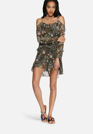 Glamorous Floral Cold Shoulder Dress Casual Green, White & Blue